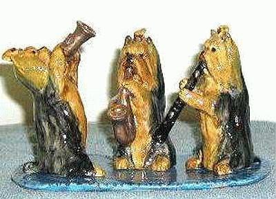 Drei musizierende Yorkshire Terrier