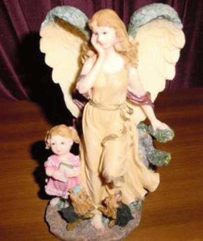 Schützender Engel über Yorkies und Kinder