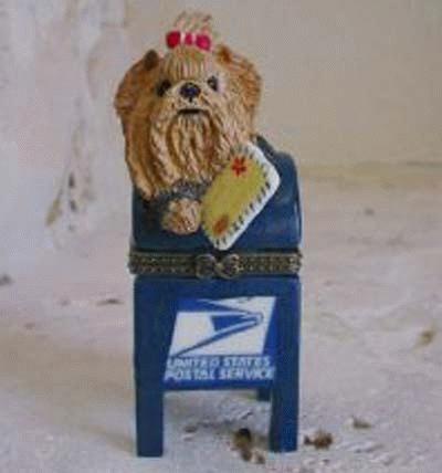 Yorkie beim Brief einwerfen auf einer US-Mail-Box