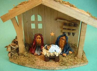 Weihnachtskrippe mit Yorkshire Terrier
