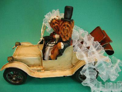 Hochzeitspaar in einem Oldtimer