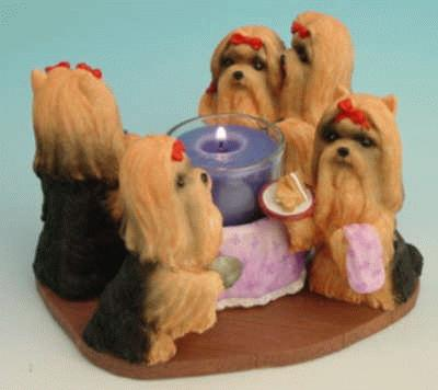 Kerzenhalter - Teelichthalter mit Yorkies