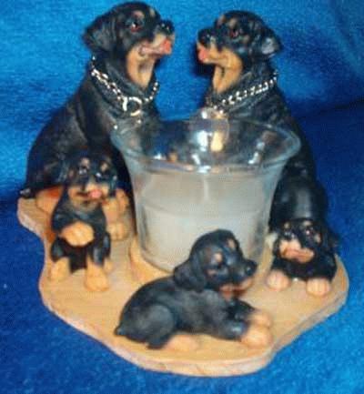 Kerzenhalter - Teelichthalter mit Rottweiler