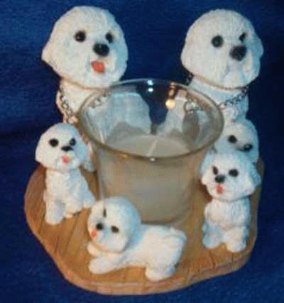 Kerzenhalter - Teelichthalter mit Bichon Frise