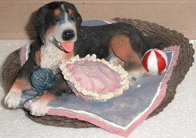 Berner Sennenhund im Körbchen