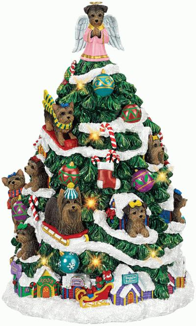 Yorkshire Terrier christmas tree with music and lights
