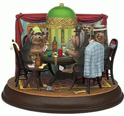 Yorkies spielen Poker