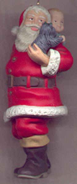 Nikolaus mit Yorkie und Kind